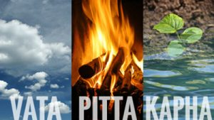 Image of air Vata, fire Pitta, and water Kapha